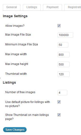 image settings